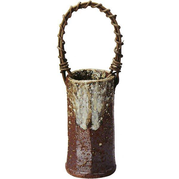 茶窯肌つる付筒花入  (信楽焼・花瓶・花入れ・花器・壺・壷・一輪挿し・フラワーベース・I)