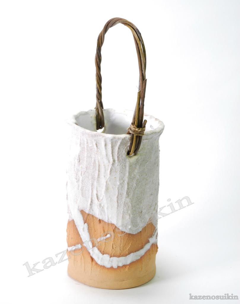 白釉流し合せつる付花入 (信楽焼・花瓶・花入れ・花器・壺・壷・水盤・一輪挿し・フラワーベース・H)
