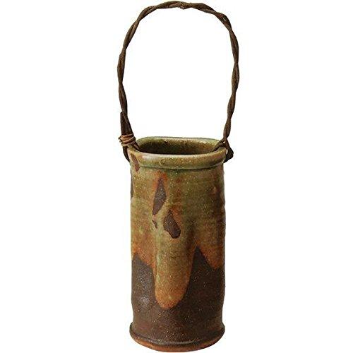 青銅流しつる付花入  (信楽焼・花瓶・花入れ・花器・壺・壷・水盤・一輪挿し・フラワーベース・H)
