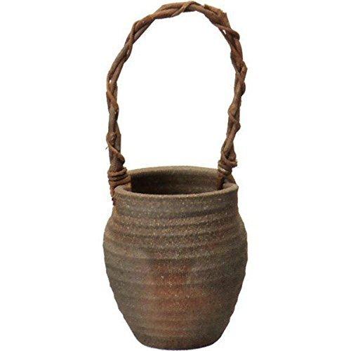 窯変つる付花入 (信楽焼・花瓶・花入れ・花器・壺・壷・一輪挿し・フラワーベース・I)
