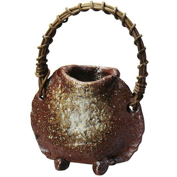 茶窯変たたらつる付花入  (信楽焼・花瓶・花入れ・花器・壺・壷・一輪挿し・フラワーベース・I)