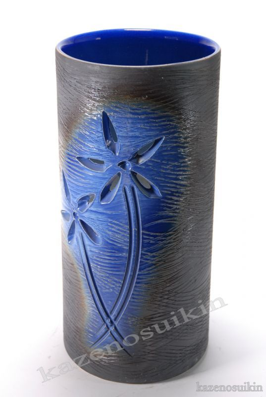 ルリ釉花彫傘立