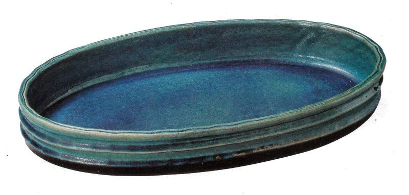 ブルーガラス小判水盤 20号