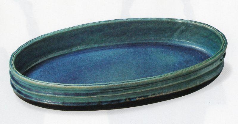 ブルーガラス小判水盤 16号