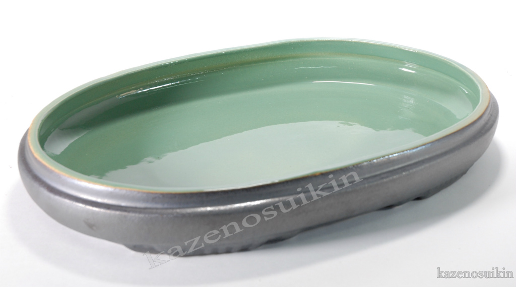 銀彩中青磁小判水盤 16号 (信楽焼・花瓶・花入れ・花器・壺・壷・水盤・H)
