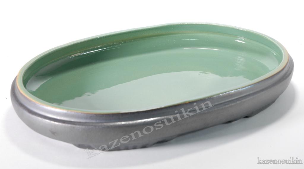 銀彩中青磁小判水盤 15号 (信楽焼・花瓶・花入れ・花器・壺・壷・水盤・H)