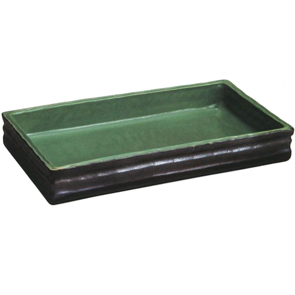 銀彩中青磁長角水盤 20号  (信楽焼・花瓶・花入れ・花器・壺・壷・水盤)