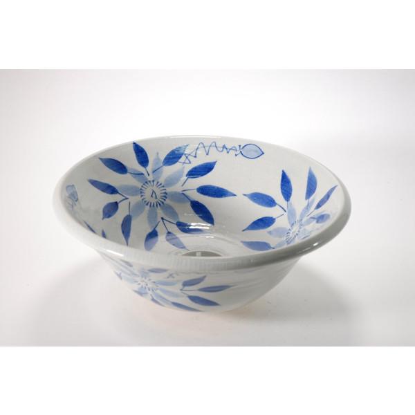 鉄線絵手洗鉢(器具付) (信楽焼・陶器・手洗い鉢)