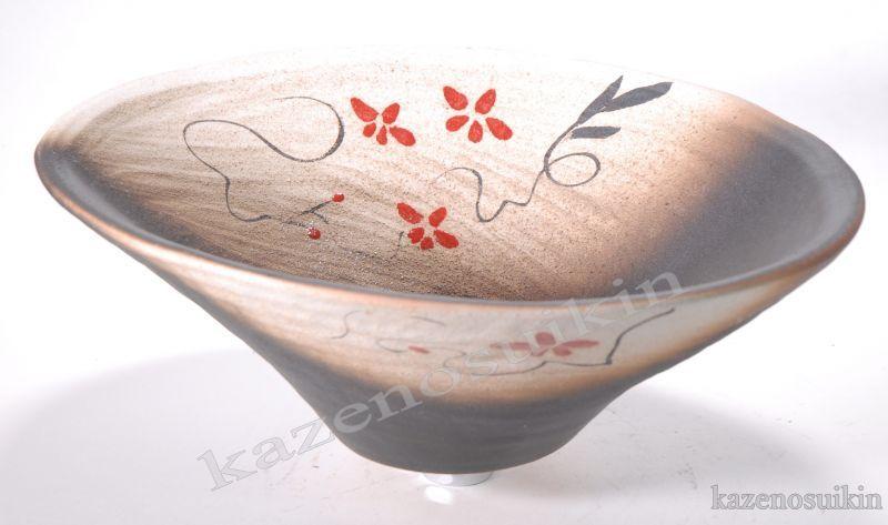 赤絵付楕円手洗鉢(器具付)  (信楽焼・陶器・手洗鉢・洗面・ポール・H)