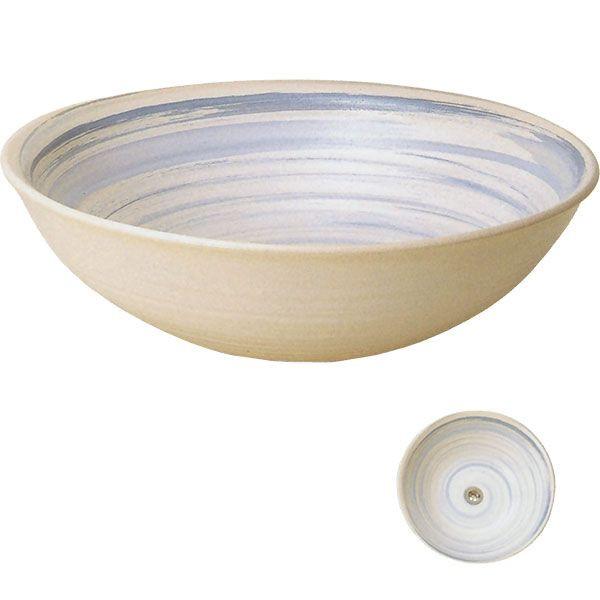 蒼流し手洗鉢(大) (器具付) (信楽焼・陶器・手洗い鉢)