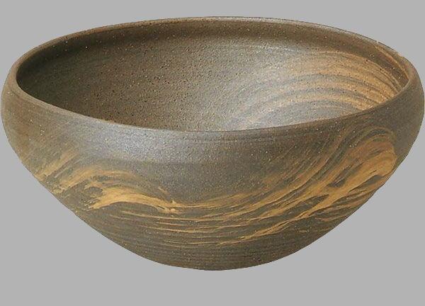 いぶしハケ目手洗鉢(器具付) (信楽焼・陶器・手洗い鉢)