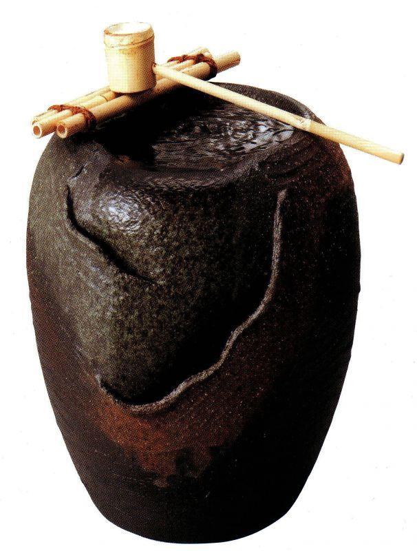 湧き水つくばい響 (竹・循環式モーター付) (信楽焼・つくばい・蹲い・インテリア・水琴窟・H)