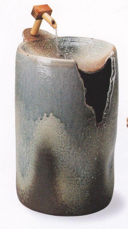 青窯変切立つくばい (水中ライト・循環式モーター)(信楽焼・陶器・つくばい・蹲い)