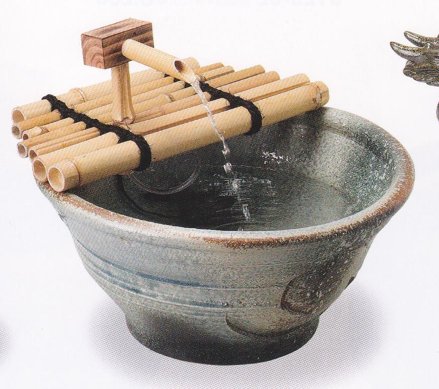 青窯変つくばい (竹・循環式モーター)(信楽焼・陶器・つくばい・蹲い)