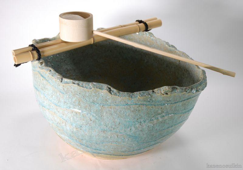 縁釉変形つくばい(竹47cm) (信楽焼・つくばい・蹲い・インテリア・水琴窟・H)